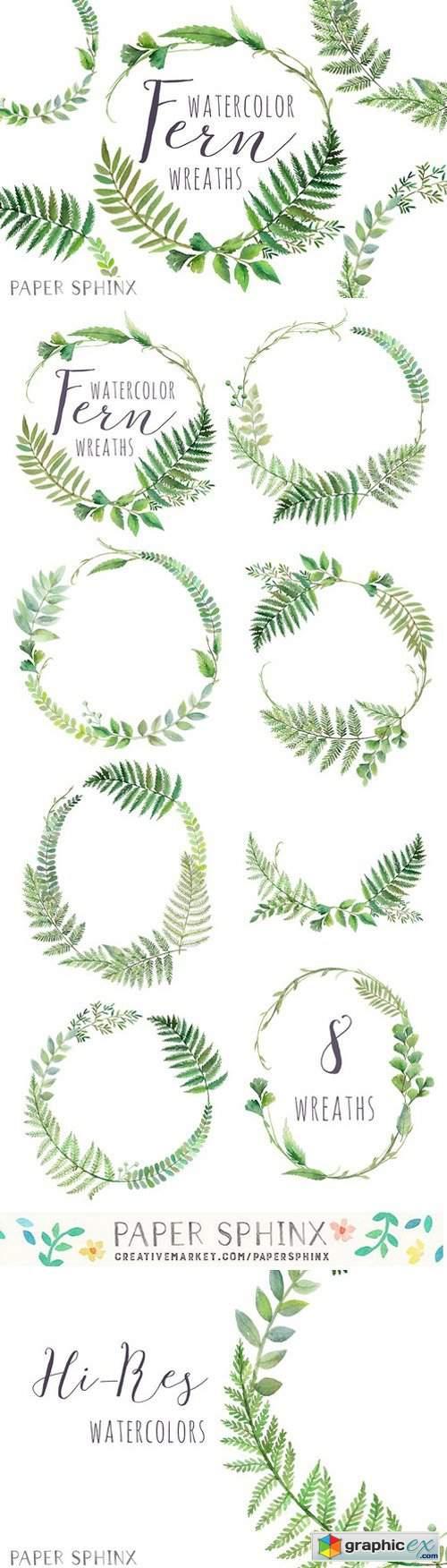 Watercolor Fern Wreaths
