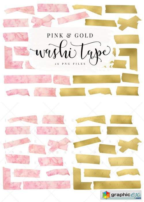 Pink Watercolor & Gold Washi Tape » Free Download Vector