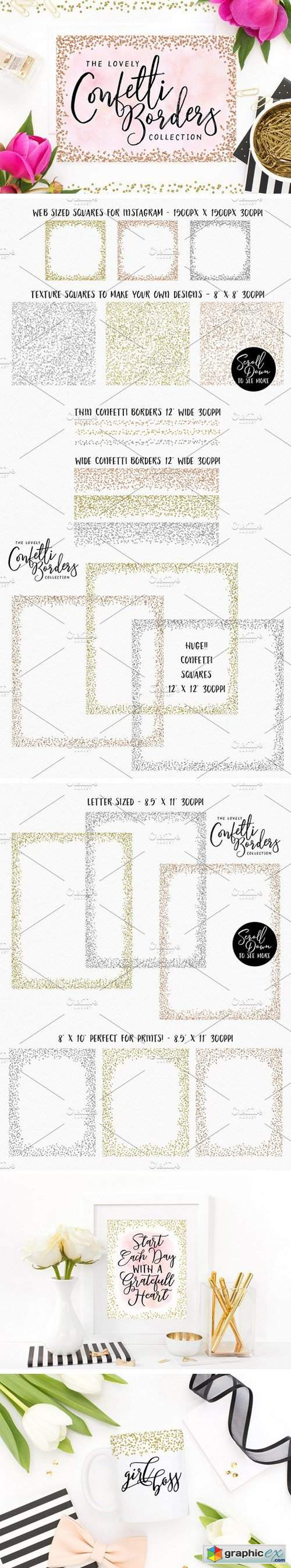 Confetti Rose Gold Borders & Frames » Free Download Vector