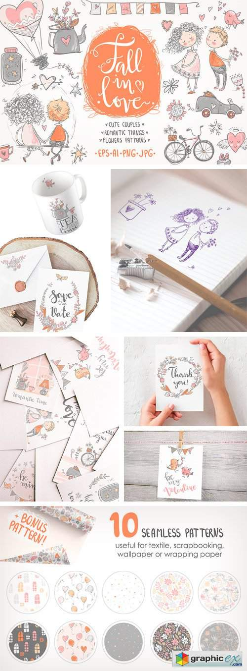 Fall in Love, ROMANTIC Graphic KIT