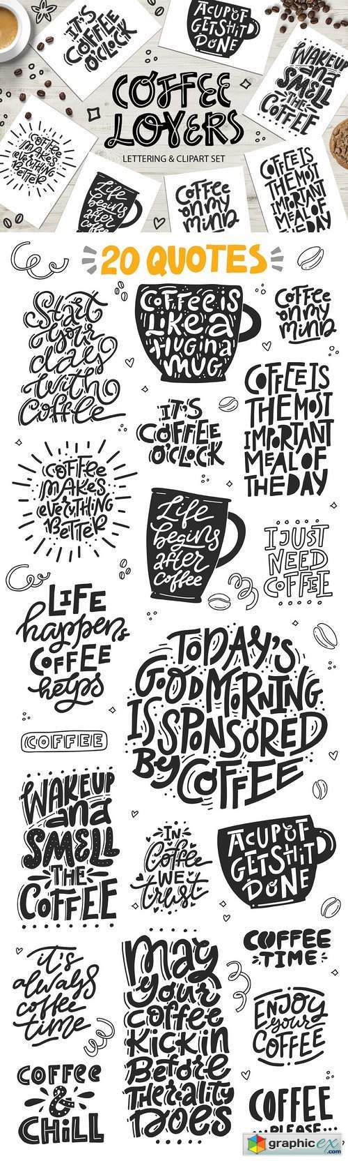 Coffee Lovers - cliart & lettering