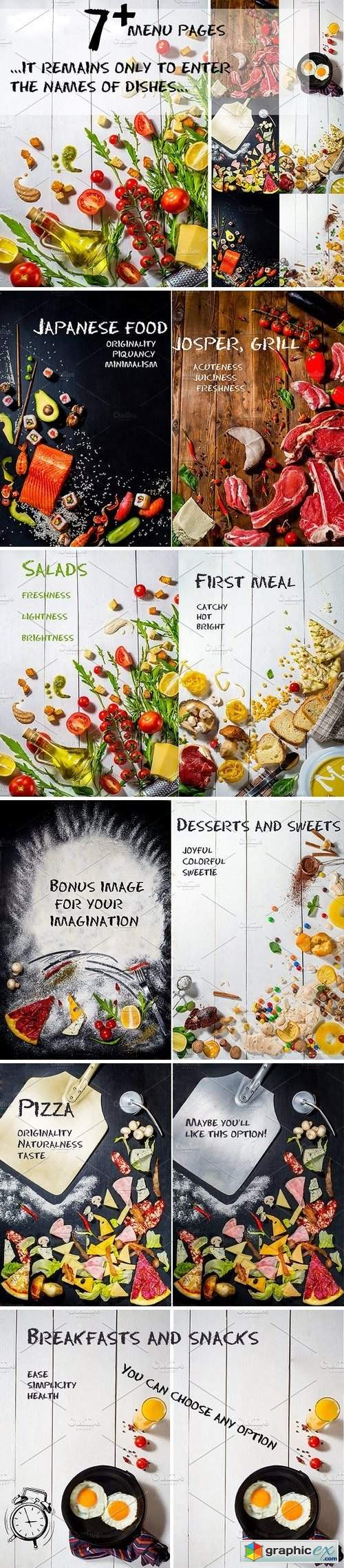 Set of menu pages or table tents