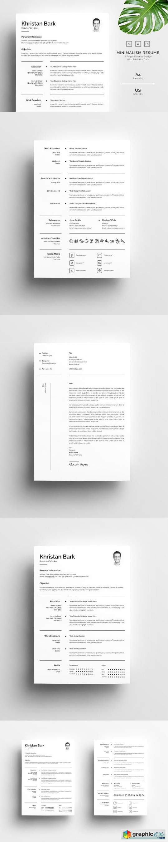 Minimalism Resume Template 3 Pages