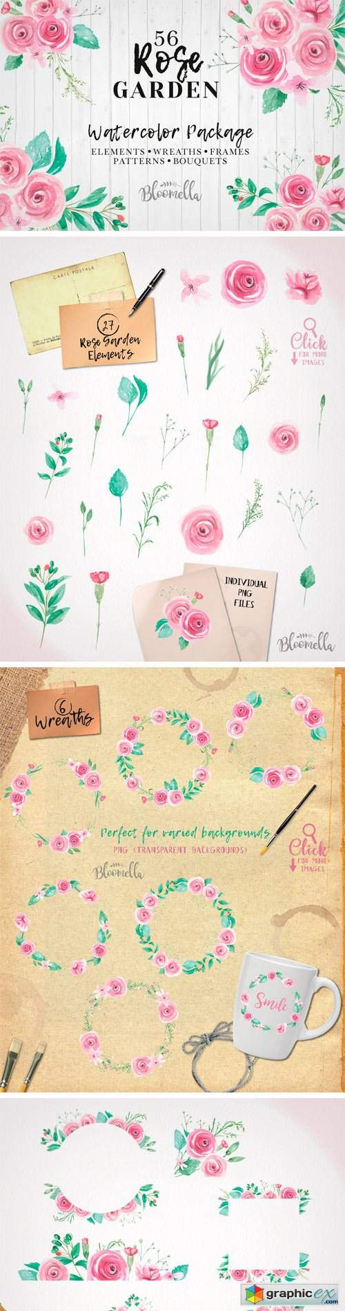 Watercolor Rose Wedding Clipart
