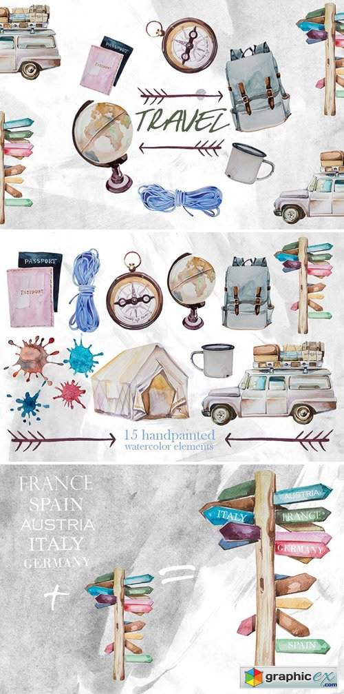 Watercolor Travel Clipart 187 Free Download Vector Stock