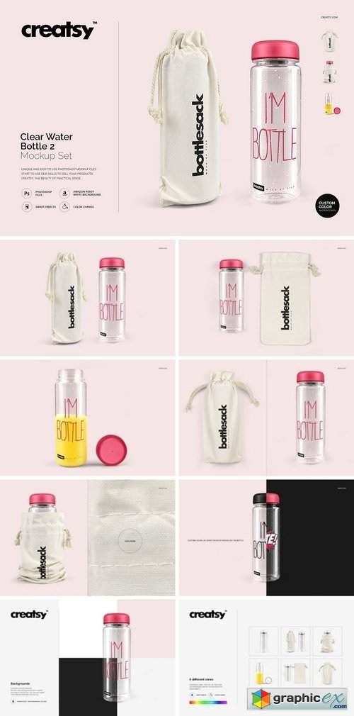 Clear Water Bottle Mockup Set 2