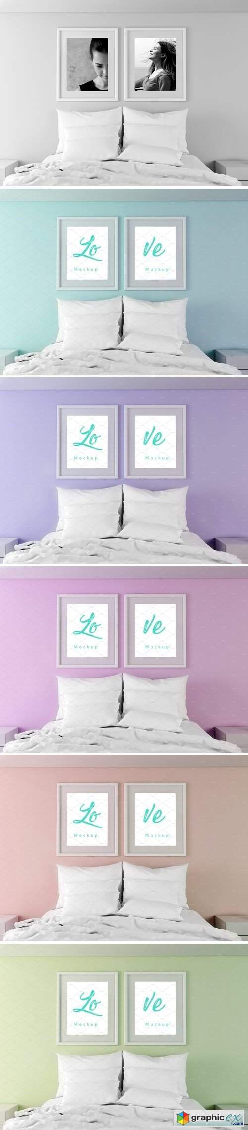 Bedroom Portrait Frame Mockup Psd Free Download Vector Stock