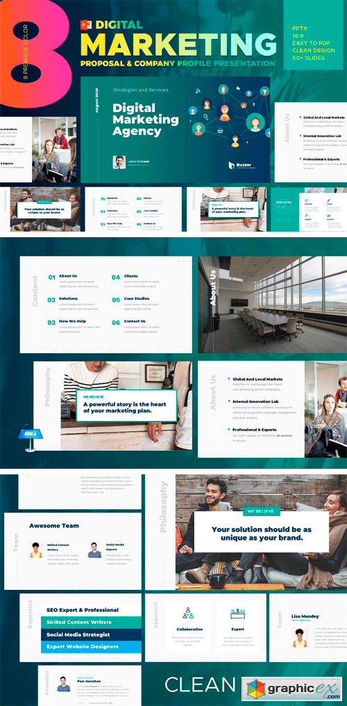 Digital Marketing Powerpoint Template Free Download Vector Stock