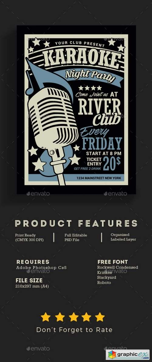 Karaoke Night Flyer 21608423 » Free Download Vector Stock