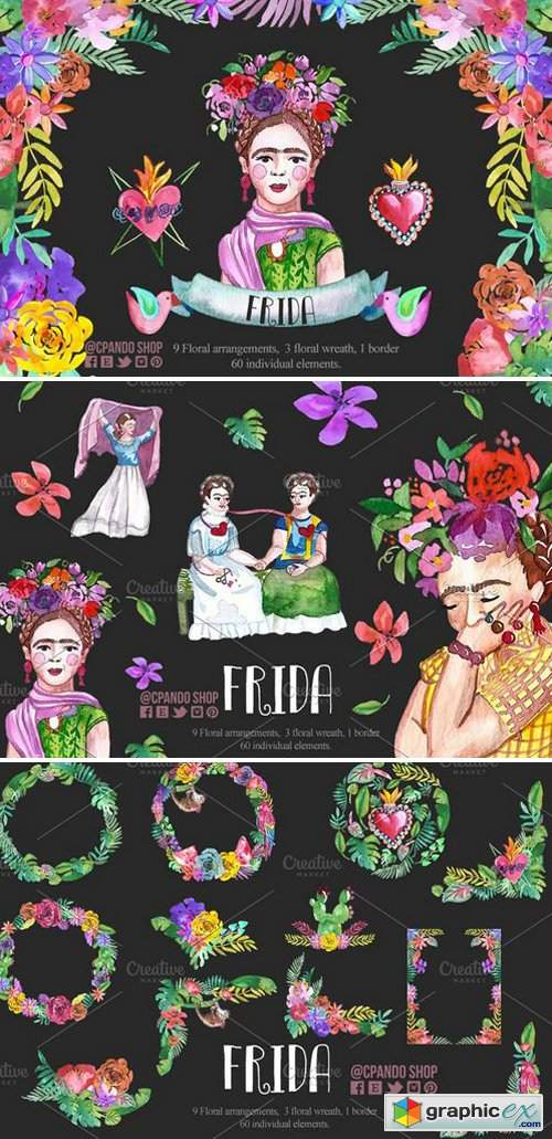 frida kahlo watercolor clip art  u00bb free download vector