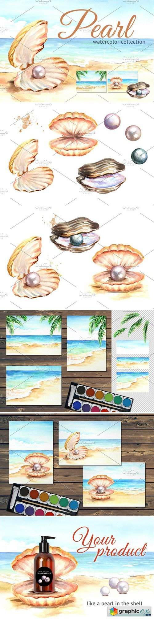 Pearls. Watercolor collection