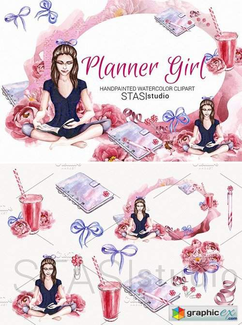 d8be96933f07c Planner Girl Watercolor Clipart » Free Download Vector Stock Image ...