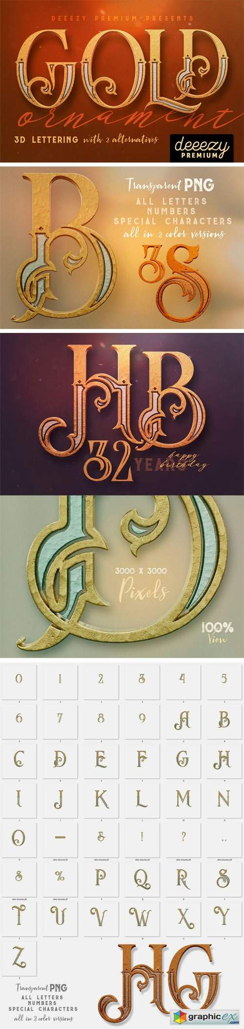 Golden Ornament - 3D Lettering