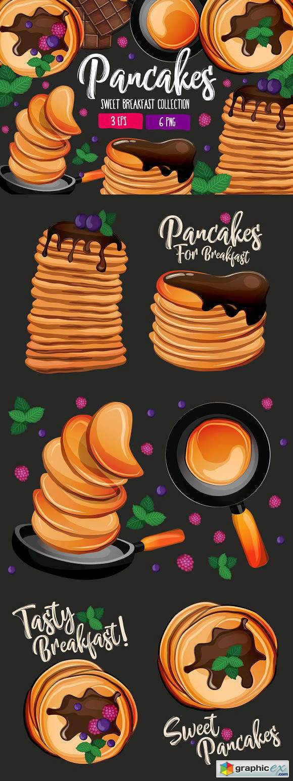 Pancakes Sweet Breakfast Collection