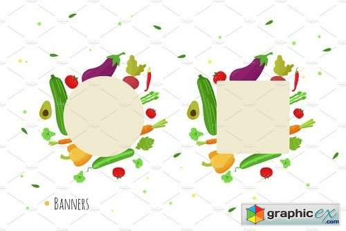 12 Vegetabeles Vector Set