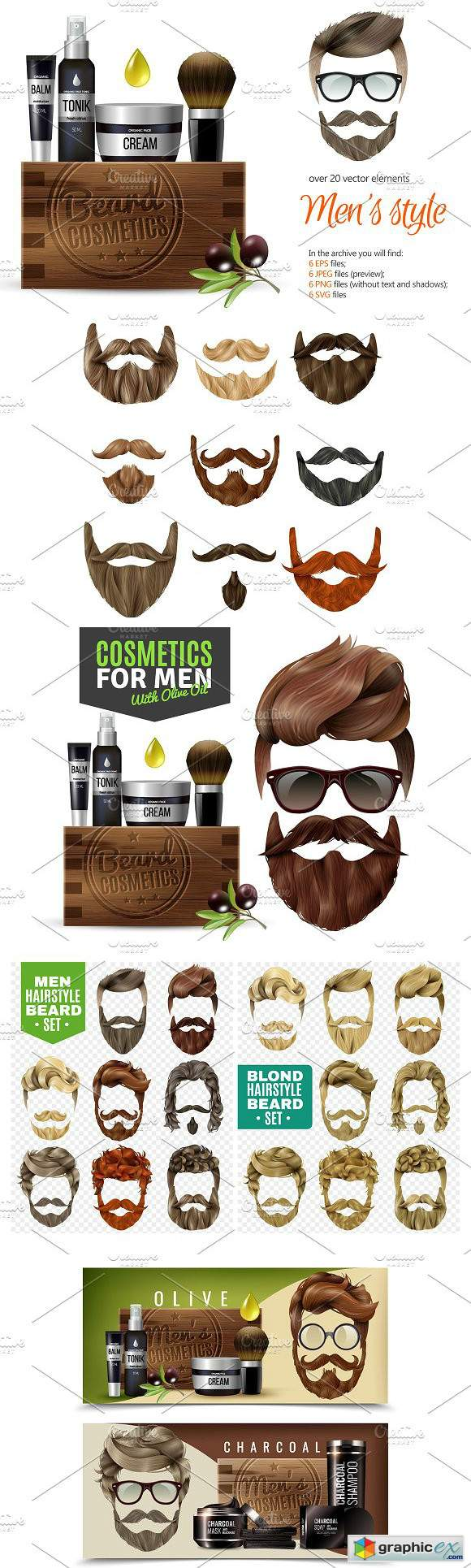 Male Beard and Hair Style Set