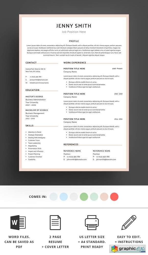Resume Template Word Modern Clean CV 2389622