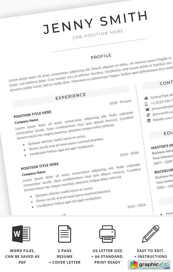 Resume Template Word Modern Clean CV 2389660