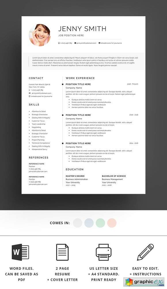 Resume Template Word Modern Clean CV 2389708