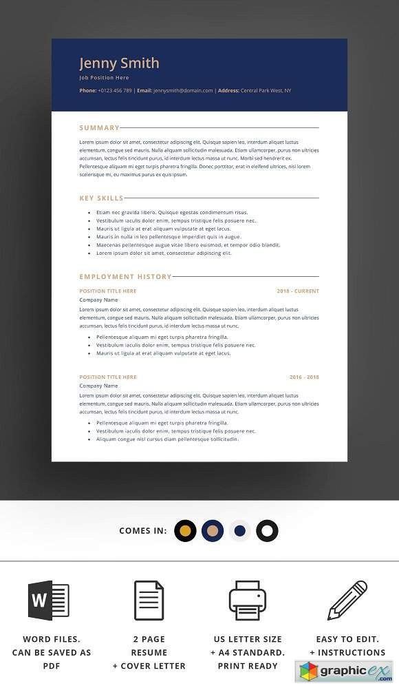 Resume Template Word Modern Clean CV 2389711