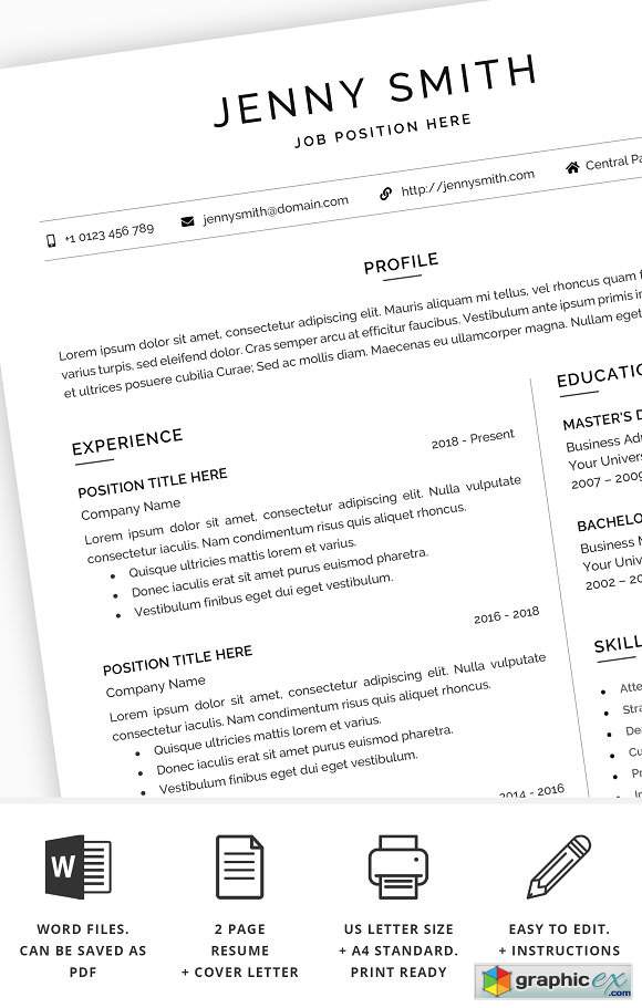 Resume Template Word Modern Clean CV 2389712