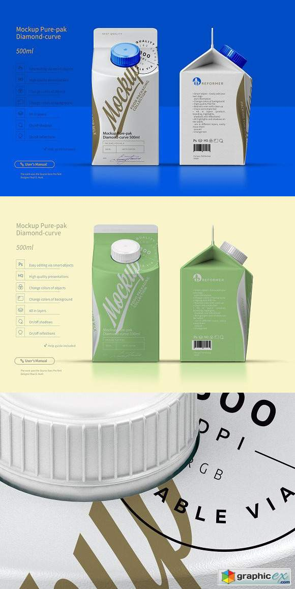 Mockup Pure-pak Diamond-curve 500ml