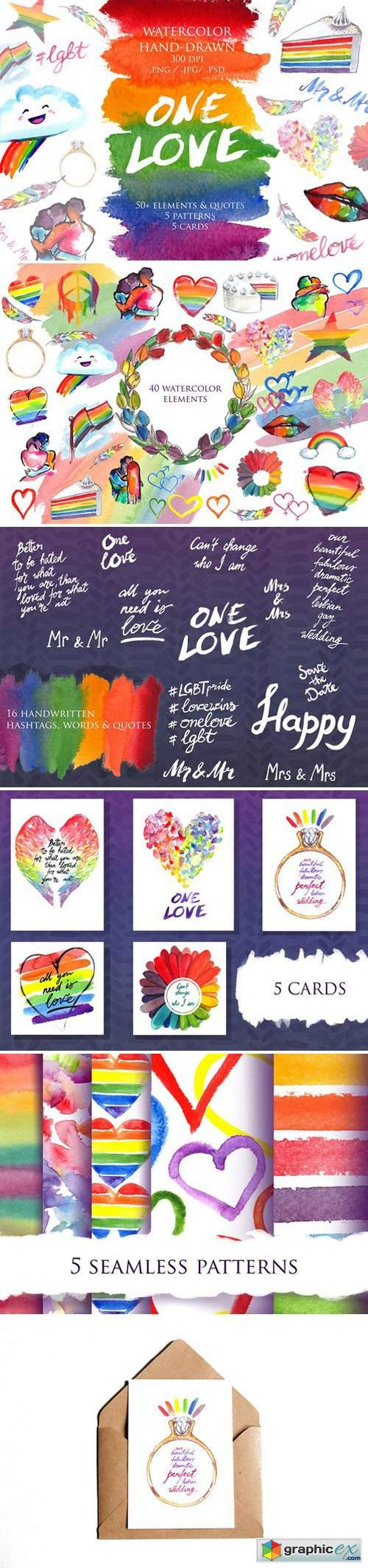 LGBT Pride rainbow watercolor set