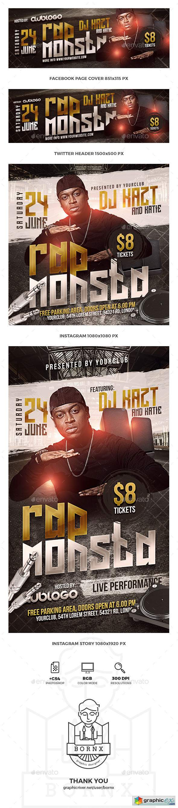 Rap Music Social Media Templates