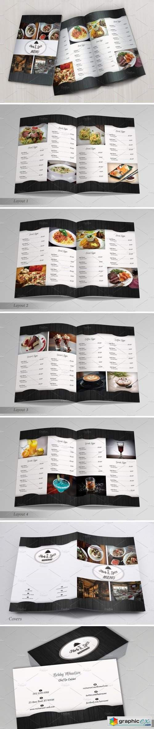 Restaurant Menu & Business Card 1580116
