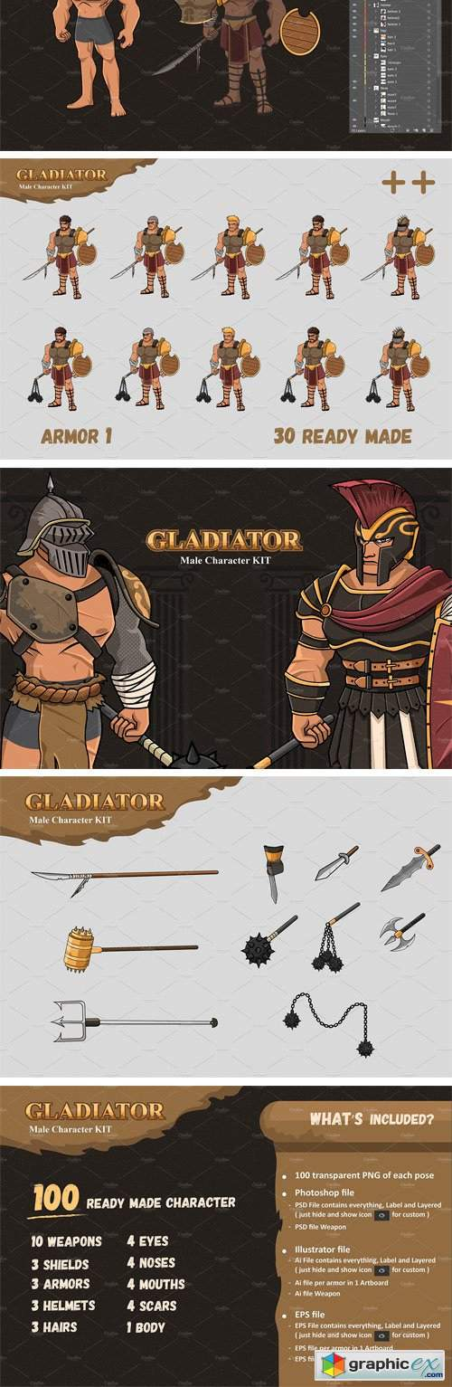 Male Gladiator Character KIT
