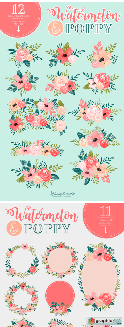 Watermelon Poppy Floral Graphic Set
