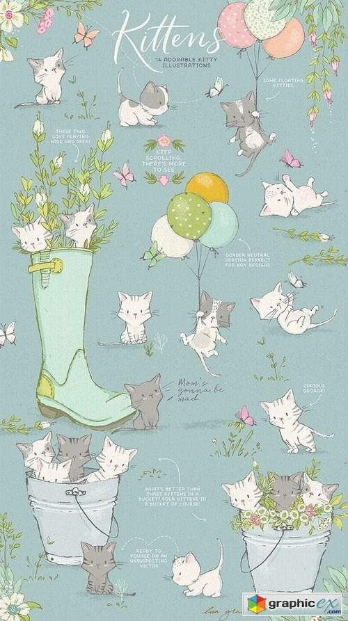 Spring cute kittens graphics bundle