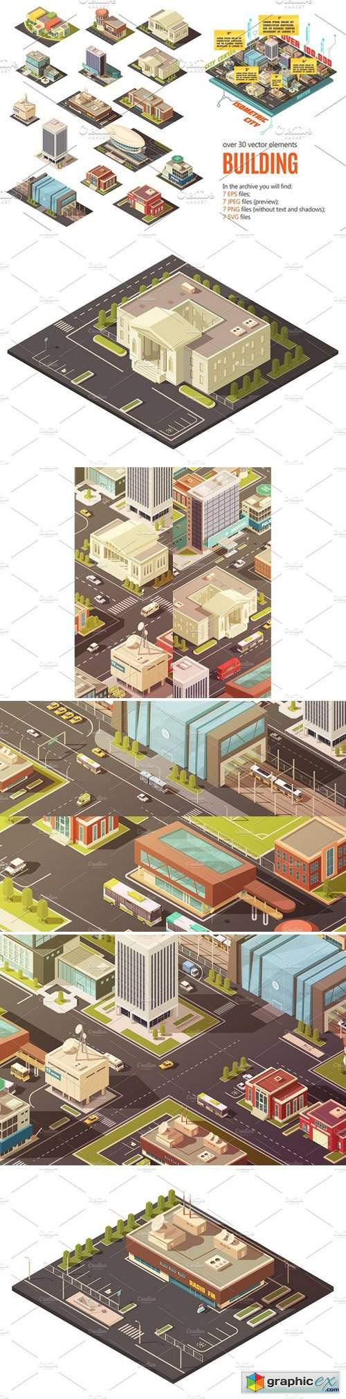 City Buildings Isometric Set
