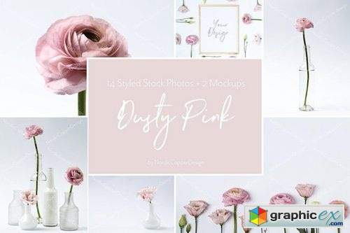 Dusty Pink Floral Styled Stock