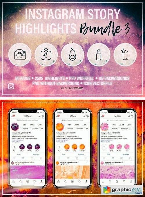 Instagram Story HIGHLIGHTS Bundle 3 » Free Download Vector