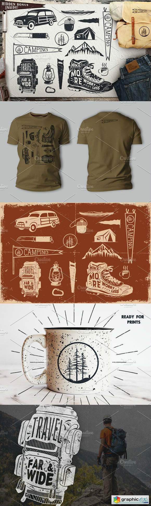 Vintage Surfing Travel Symbols
