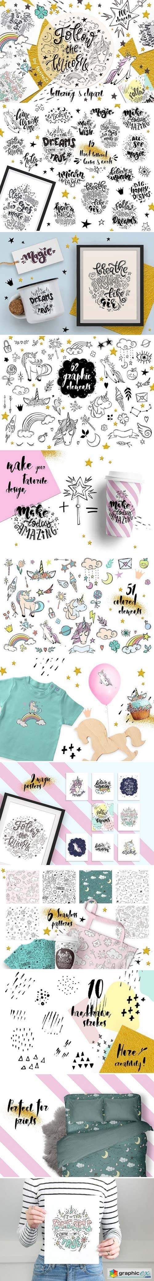 Follow the unicorn: clipart&letters