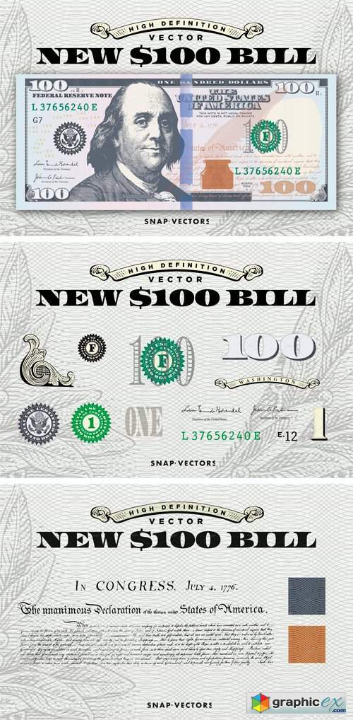 vector new  100 bill template  u00bb free download vector stock