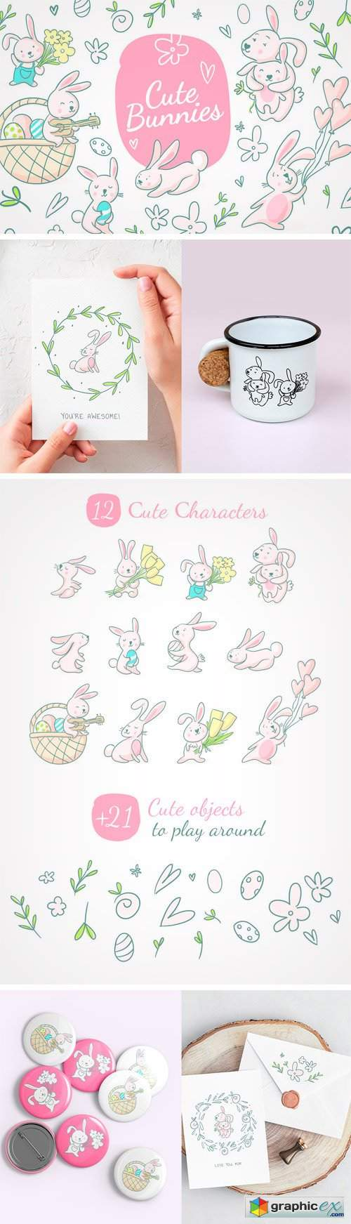 Cute Holiday Bunnies Spring Set