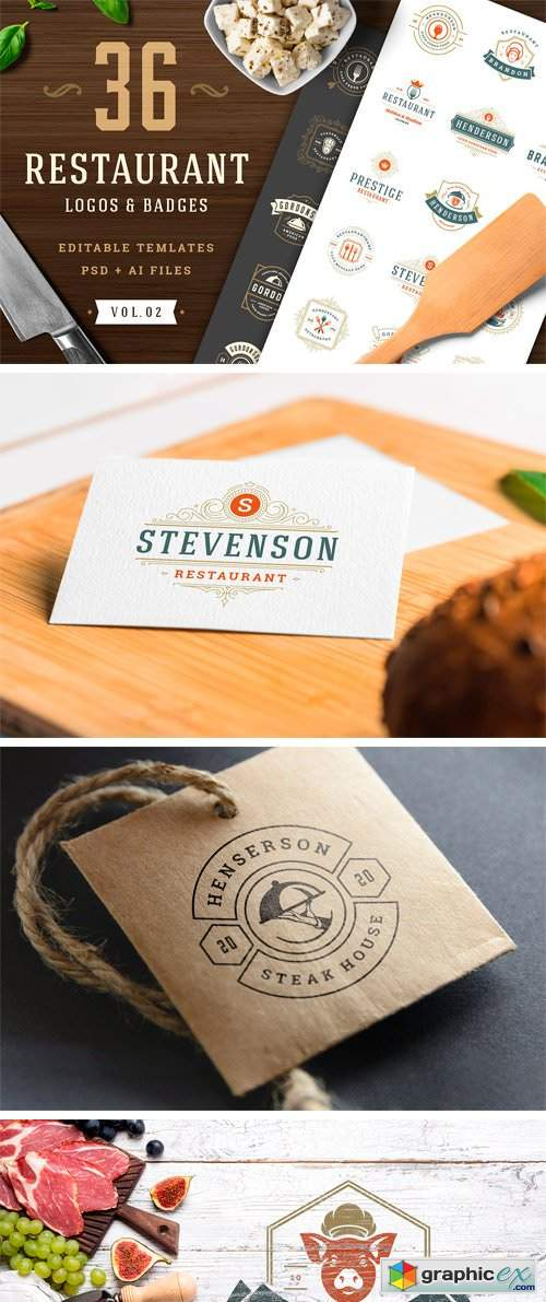 36 Restaurant Logos And Badges Free Download Vector Stock