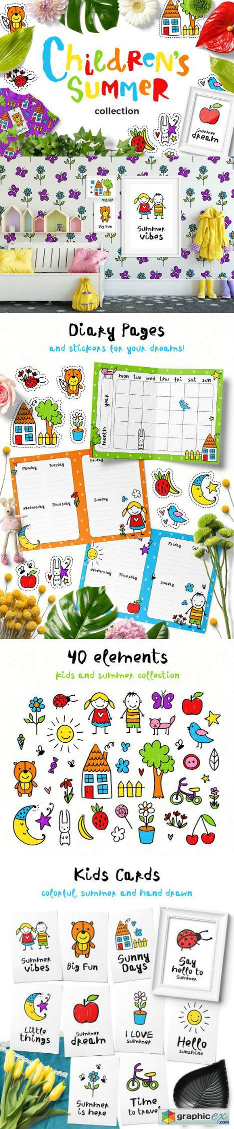 Childrens Summer - Clipart Set