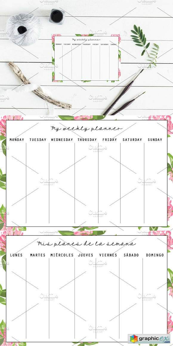 weekly planner template  u00bb free download vector stock image