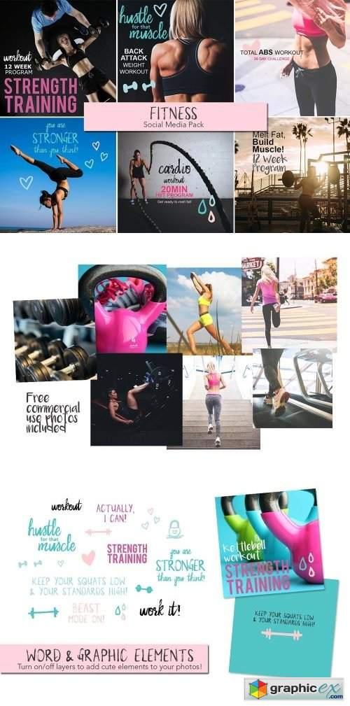 fitness social media pack  u00bb free download vector stock
