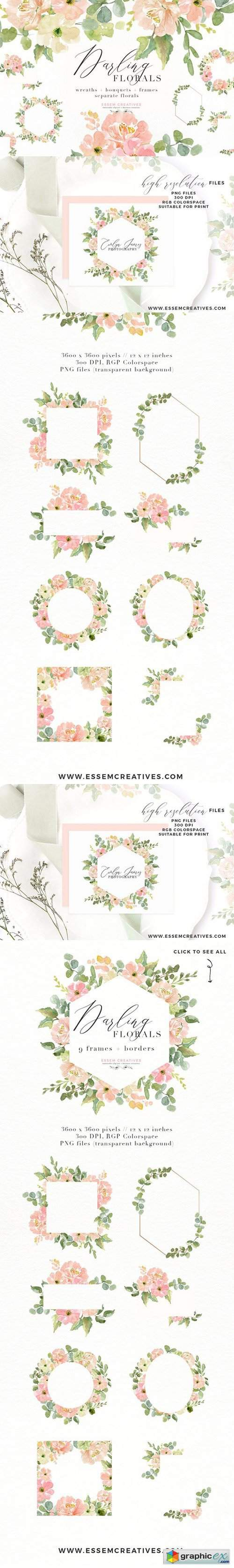 Wedding Invite Watercolor Flower PNG