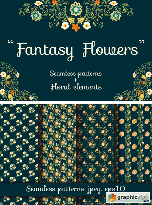 Fantasy Flowers. Seamless Patterns