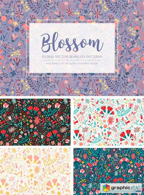 Floral Seamless Pattern and Skunks