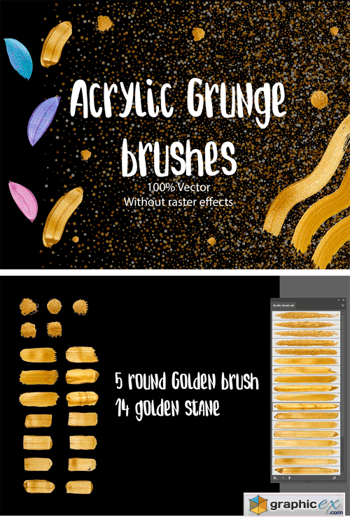 Golden Metallic Brush 100% Vector