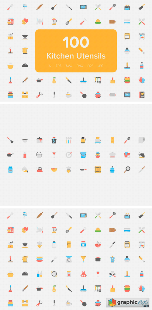 100 Kitchen Utensils Flat Icons