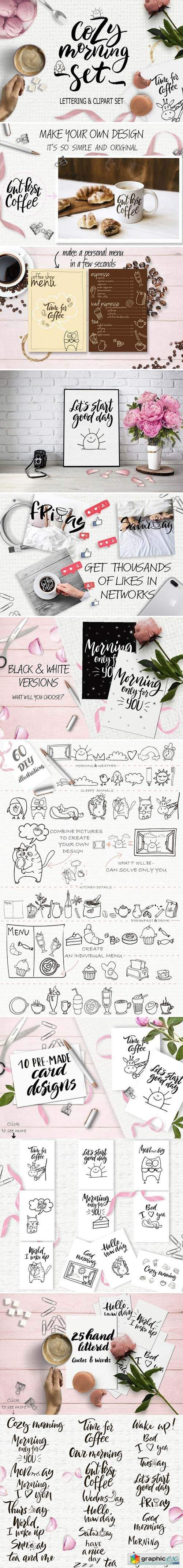 Cozy morning: lettering & clipart