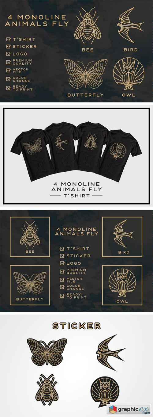Monoline Fly Animals